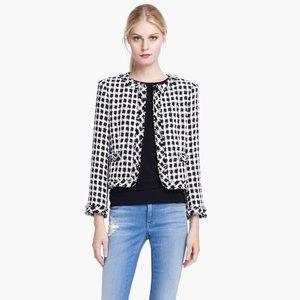 Alice + Olivia Addison tweed frayed boxy jacket